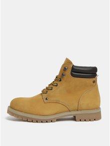 Hořčicové kožené kotníkové boty Jack & Jones Stoke
