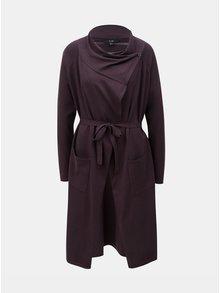 Tmavě fialový dlouhý kardigan s odnímatelným páskem a knoflíky u krku Yest