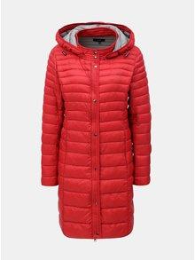 Červený prošívaný kabát s kapucí Yest