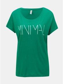 Tricou verde cu print si maneci scurte Blendshe Minimal