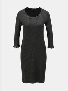 Tmavě šedé svetrové šaty s ozdobným šněrováním Yest
