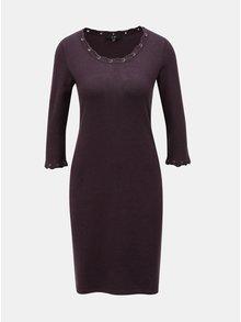 Tmavě fialové svetrové šaty s ozdobným šněrováním Yest