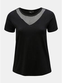 Tricou negru cu plasa pe decolteu Zizzi Cano