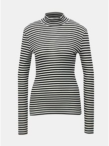 Tricou alb-negru in dungi cu guler inalt VERO MODA Vita