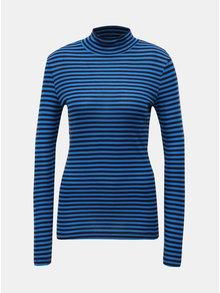 Tricou negru-albastru in dungi cu guler inalt VERO MODA Vita
