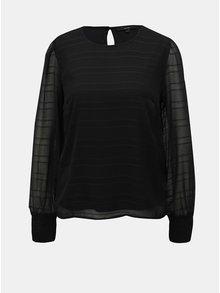Bluza neagra cu model si maneci translucide VERO MODA Fiona