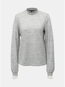 Šedý žíhaný svetr s krajkovými detaily a stojáčkem VERO MODA Penny