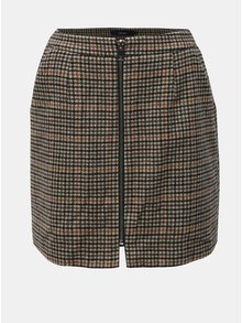 Hnědá vzorovaná sukně na zip s příměsí vlny VERO MODA Jana