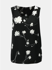 Černá květovaná halenka bez rukávů VERO MODA Zitta