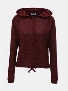 Vínový žíhaný lehký svetr s kapucí Noisy May Mango