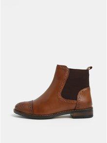 Hnědé kožené brogue chelsea boty Dune London