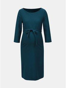 Rochie petrol cu model si cordon pentru femei insarcinate Mama.licious Hanna