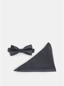 Černo-šedý motýlek s kapesničkem Selected Homme Valdemar