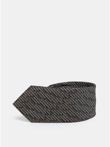 Hnědo-šedá vzorovaná slim kravata Selected Homme Valdemar