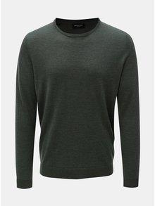 Zelený vlnený tenký sveter s okrúhlym výstrihom Selected Homme
