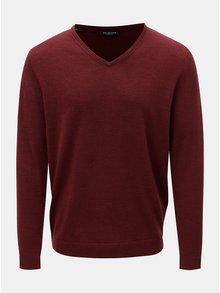 Vínový vlnený tenký sveter s véčkovým výstrihom Selected Homme