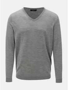 Sivý vlnený tenký sveter s véčkovým výstrihom Selected Homme