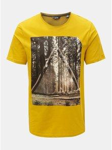 Hořčicové tričko s potiskem ONLY & SONS Gideon