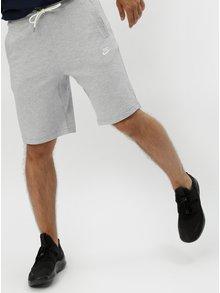Světle šedé pánské žíhané teplákové kraťasy Nike