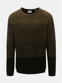 Kaki melírovaný sveter s pruhmi ONLY & SONS Sato