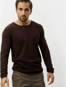 Pulover maro cu decolteu rotund Selected Homme Rocky