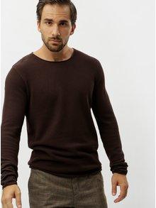 Hnedý sveter s okrúhlym výstrihom Selected Homme Rocky