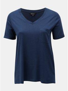 Tricou albastru inchis cu buzunar la piept Ulla Popken
