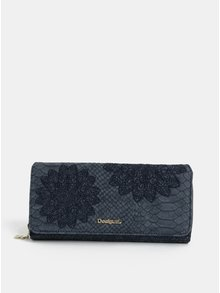 Modrá vzorovaná peněženka s výšivkou Desigual Aquiles