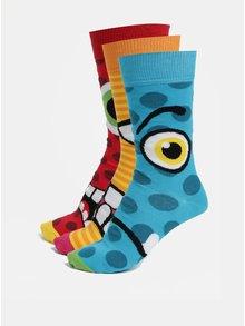 Sada tří pánských vzorovaných ponožek v modré žluté a červené barvě Oddsocks Jason