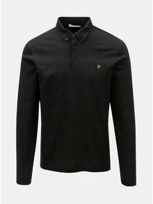 Černé pruhované polo tričko s dlouhým rukávem Farah Stapleton