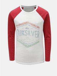 Červeno-bílé klučičí regular fit tričko s potiskem Quiksilver