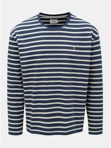 Krémovo-modré pruhované oversize tričko Farah Bain