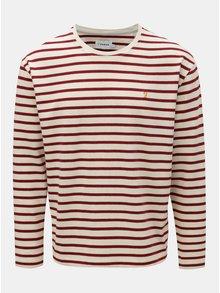 Krémovo-vínové pruhované oversize tričko Farah Bain