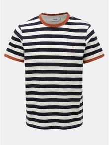 Krémovo-modré pruhované tričko Farah Belgrove Stripe