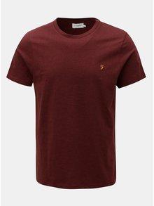 Vínové žíhané tričko Farah Denny Slim