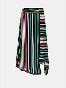 Zeleno-bílá pruhovaná asymetrická midi sukně Dorothy Perkins