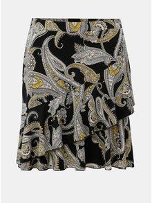 Černá vzorovaná sukně s volánem Dorothy Perkins