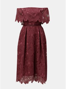 Vínové krajkové midišaty s odhalenými rameny Dorothy Perkins