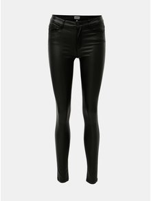 Černé  lesklé skinny džíny s nízkým pasem ONLY