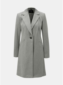 Šedý kabát se zapínáním na knoflík Dorothy Perkins