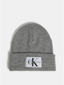 Šedá dámská žíhaná čepice s příměsí vlny a kašmíru Calvin Klein