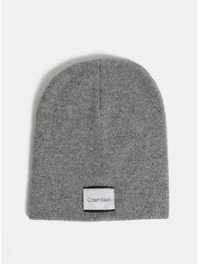 Šedá žíhaná čepice s příměsí vlny a kašmíru Calvin Klein