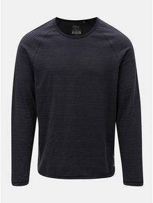 Šedo-modré pánské pruhované slim fit tričko s.Oliver
