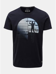 Tmavě modré pánské regular fit tričko s.Oliver