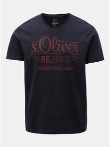 Tmavě modré pánské regular fit tričko s potiskem s.Oliver