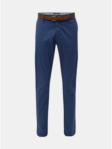 Modré pánské slim fit straight chino kalhoty s páskem s.Oliver