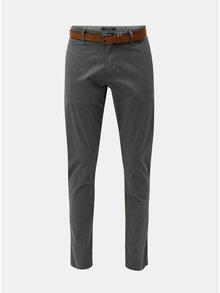 Šedé pánské slim fit straight chino kalhoty s páskem s.Oliver