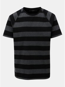 Černo-šedé pruhované tričko s krátkým rukávem Makia Keel