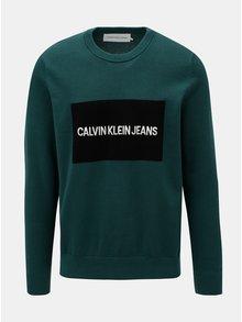 Tmavě zelený pánský svetr s příměsí vlny Calvin Klein Jeans