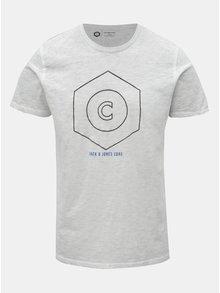 Světle šedé žíhané tričko Jack   Jones Pigments 3d5af37f94d